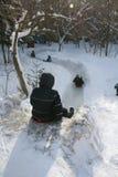 Children sledding downhill Stock Image