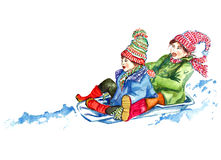 Children sledding Royalty Free Stock Photos