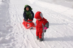 Children sledding on sledge Royalty Free Stock Photo