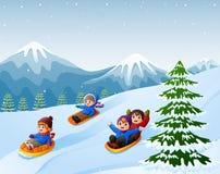 Children sledding snow downhill. Illustration of Children sledding snow downhill Stock Images