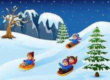 Children sledding in snow downhill. Illustration of Children sledding in snow downhill Royalty Free Stock Image