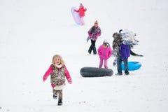 Children Sledding Royalty Free Stock Photography