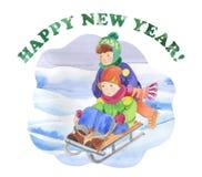 Children are sledding Stock Photography