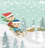 Children on a sledge vector illustration