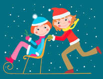 Children with a sledge Stock Images