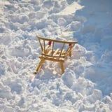 Children sledge in white snow Royalty Free Stock Photo