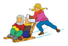 Children on sleds Stock Images