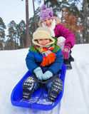 Children on sleds in snow Stock Images