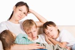 Children Sleeping With Mom Stock Image