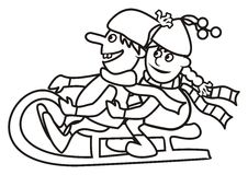 Children and sleigh, coloring book Royalty Free Stock Photography