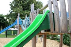 Children slide playground outdoor construction Royalty Free Stock Images