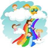 Children sliding down the rainbow vector illustration