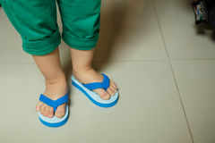Children Slipper. Cute Thailand children Slippers in blue and white color Stock Images