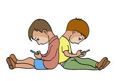 Children with smartphones. Two boys sitting on the floor with their backs to each other with smartphones. Each of them is passionate about their phone Royalty Free Stock Photography