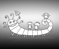 Children smiling on the bug - Created by hand sket Stock Photo