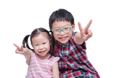 Children smiling isolated over white Royalty Free Stock Photo