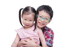 Children smiling over white background Stock Images