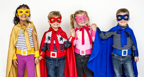 Children Smiling Super Hero Costume Portrait Concept. Children Smiling Super Hero Costume Portrait royalty free stock photography