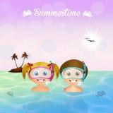 Children snorkelers Stock Images