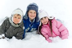 Children In Snow Royalty Free Stock Photos