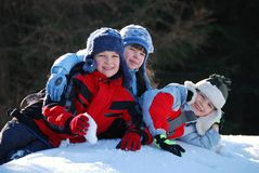Children in snow Royalty Free Stock Images
