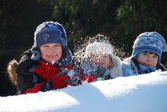 Children in Snow Stock Image