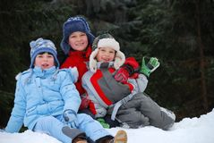Children in snow Stock Photos