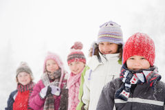 Children in the snow Royalty Free Stock Image