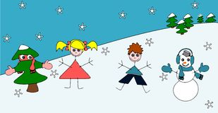 Children in the snow. Stock Photography