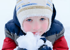 Children on snow Royalty Free Stock Image