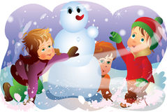 Children and snow man. This illustration depicts three children and snow man played in snow Royalty Free Stock Photography