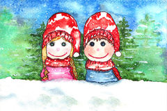 Children Snow Watercolor Royalty Free Stock Photo