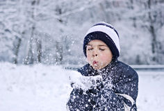 Children snow wishes Stock Images