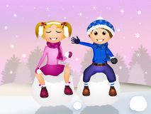 Children on snowball Royalty Free Stock Photo