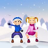 Children on snowball Stock Photography