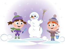 Children with snowman Stock Photos