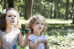 Children and soap bubbles. Little children blowing soap bubbles stock photos
