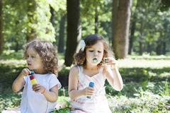 Children and soap bubbles. Little girls blowing soap bubbles royalty free stock photography