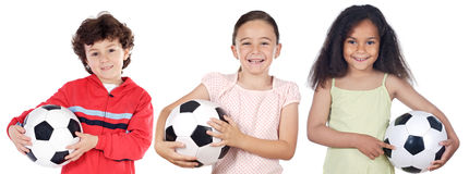 Children with soccer ball Royalty Free Stock Photos