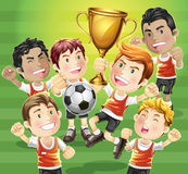 Children Soccer champion with trophy. Royalty Free Stock Image