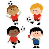 Children soccer players. A goal keeper and a referee vector illustration Royalty Free Stock Photography