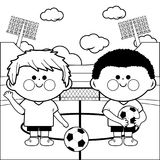 Children soccer players in a stadium. Coloring page. Two young children soccer players at a stadium. Black and white coloring page illustration Royalty Free Stock Images