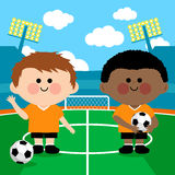 Children soccer players in a stadium. Two young children soccer players at a stadium vector illustration Royalty Free Stock Images