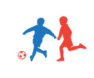 Children soccer players. On white background. Kids soccer players with soccer ball. For Art, Print, Web design. Vector Illustration Royalty Free Stock Photography
