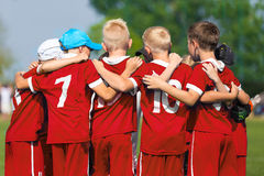 Children Soccer Team. Children Football Academy. Kids Soccer Players Standing Together Stock Images