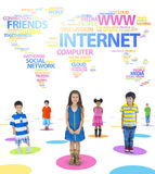 Children and Social Networking Themed Words Royalty Free Stock Image