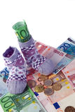 Children Socks and Euro banknotes Royalty Free Stock Photos