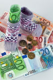 Children Socks and Euro banknotes Royalty Free Stock Image