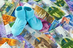 Children socks with swiss franc banknotes Stock Images
