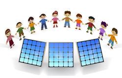 Children solar panels Royalty Free Stock Images